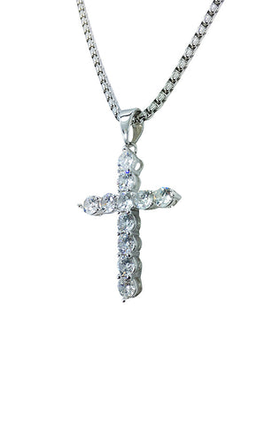 Diamond Cross Necklace (Silver)