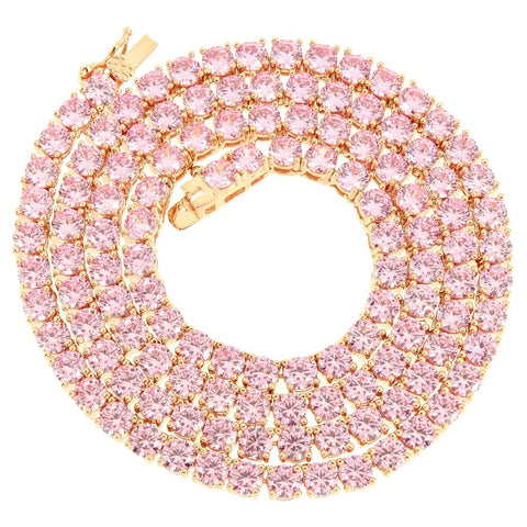 Pink Tennis Necklace