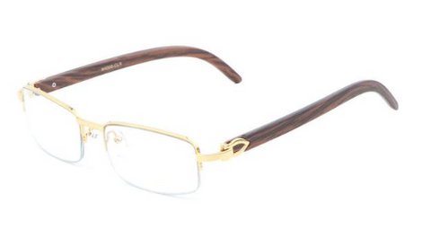 Square Carter Wood Half Rim Glasses (Gold)