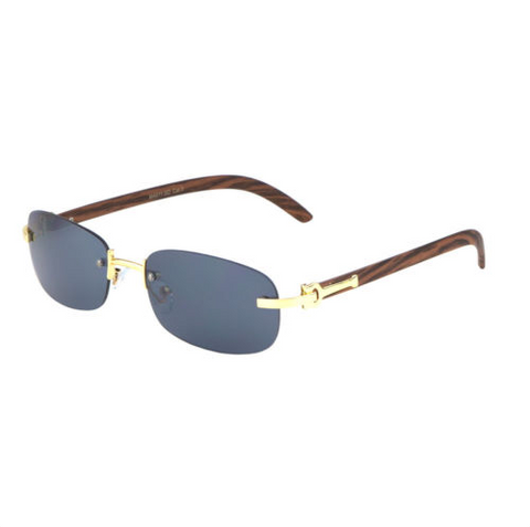 Square Carter Wood Rimless Sunglasses (Gold)