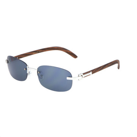 d23f9b66c5919 Square Carter Wood Rimless Sunglasses (Silver)