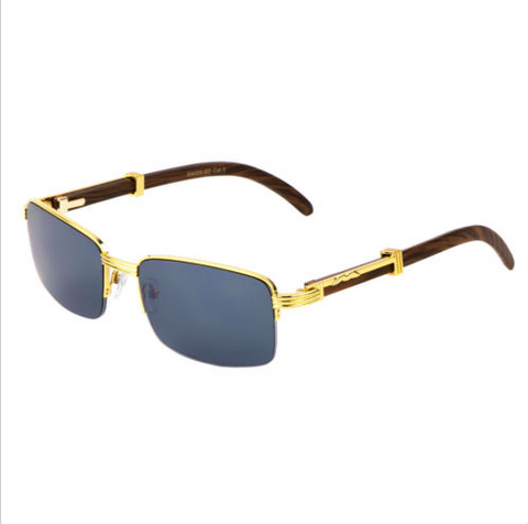 Square Carter Wood Sunglasses Half Rim (Gold)