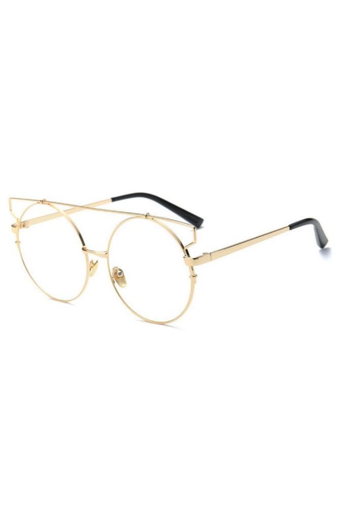 Wire Cat Eye Glasses (Gold)