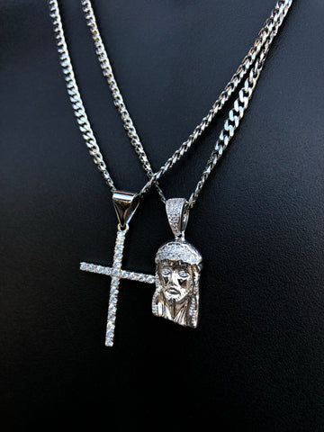 Silver Jesus Cross Set