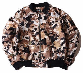 Cash Camo Bomber Jacket (Tan) *Made to Order*