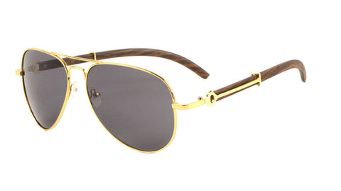 Carter Aviator Wood Sunglasses (Gold)