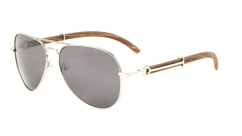 Carter Aviator Wood Sunglasses (Silver)