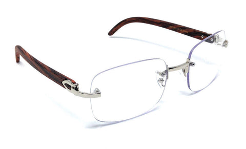 Square Carter Wood Rimless Glasses (Silver)