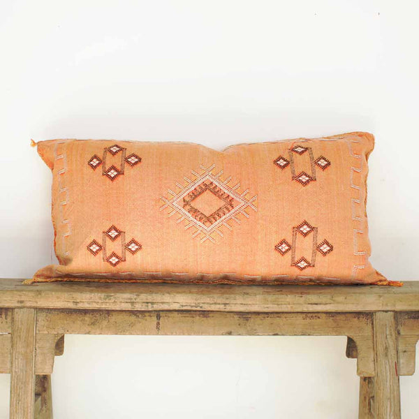 Cactus Silk Lumbar Cushion - Sahara Orange