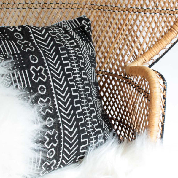 Handwoven African Mud Cloth Pillow Cover with Varied Patterns - Black