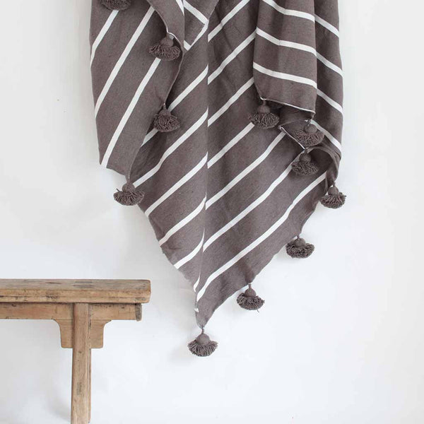 Pom Pom Blanket - Grey with White Stripes