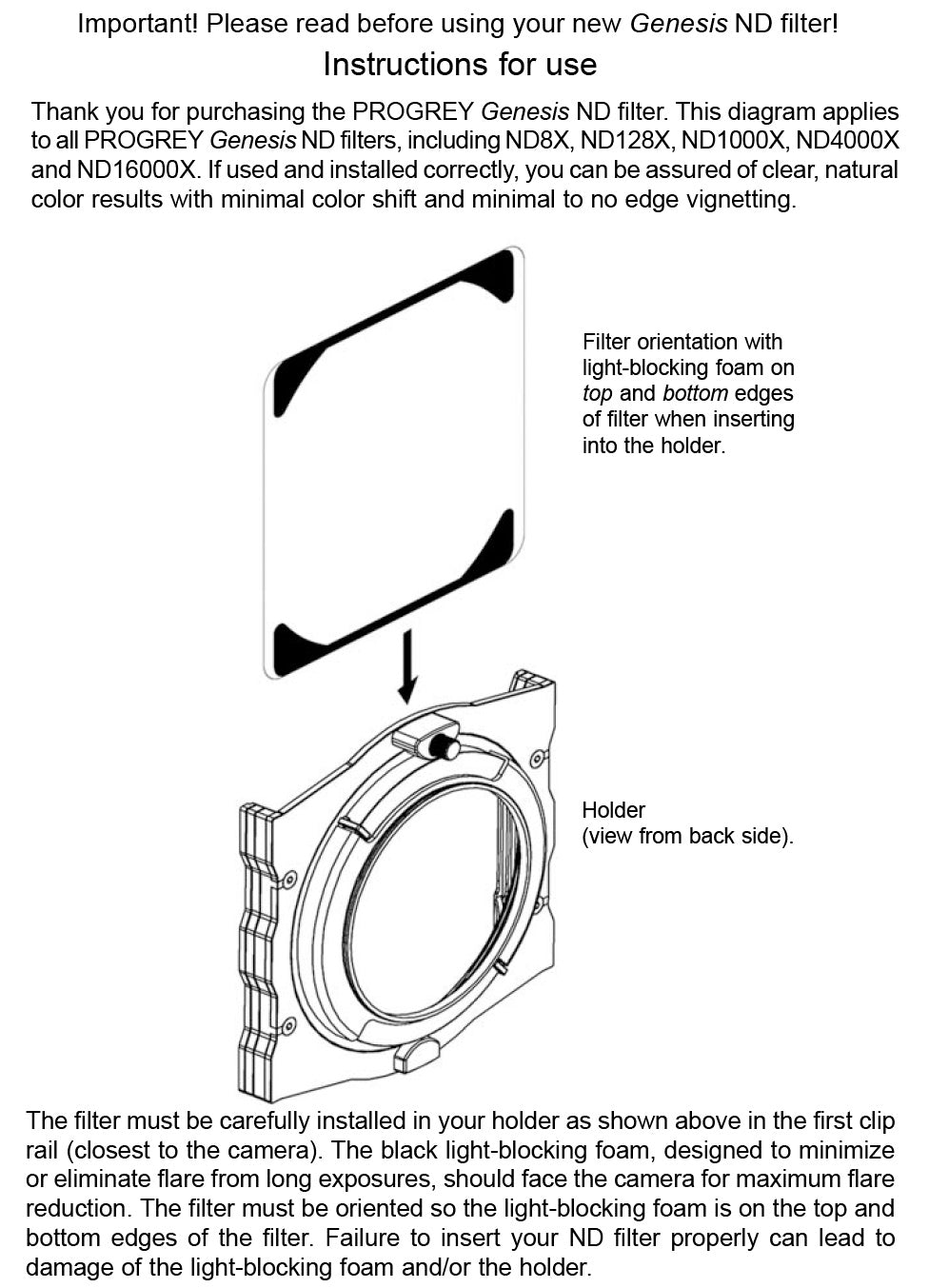Genesis neutral density filter installation instructions
