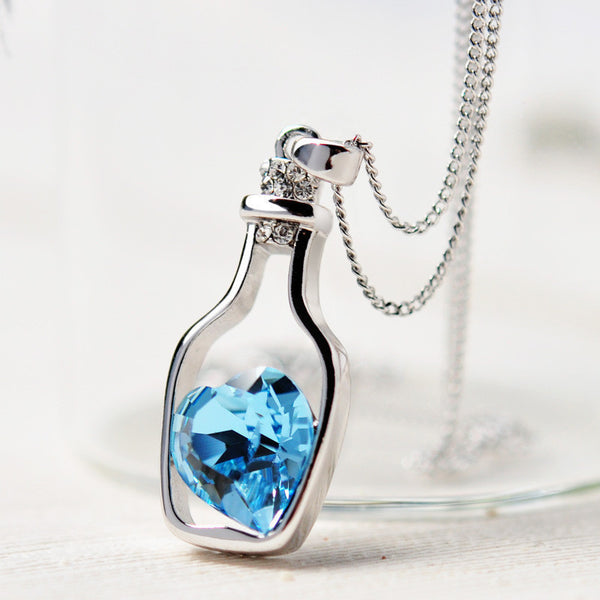 Blue Crystal Heart in Bottle Women's Necklace