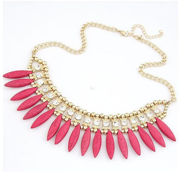 Bohemian Chunky Pink Choker Necklace with Water Droplet Pendants & Crystals