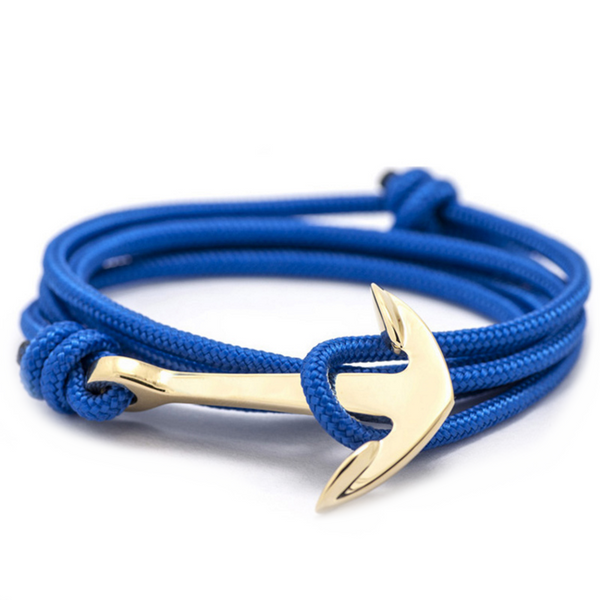Royal Blue Rope and Gold Anchor Men's Bracelet