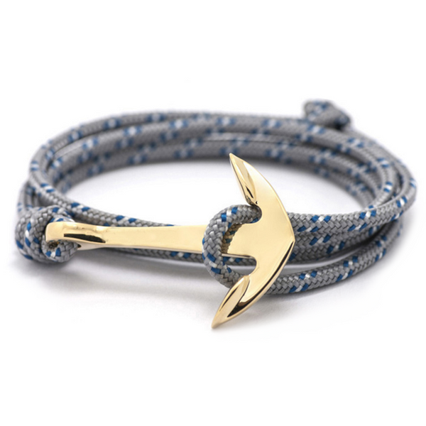Storm Grey Rope and Gold Anchor Men's Bracelet