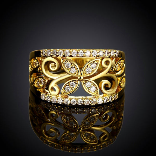 Cubic Zirconia Flower Pattern Women's Ring Gold
