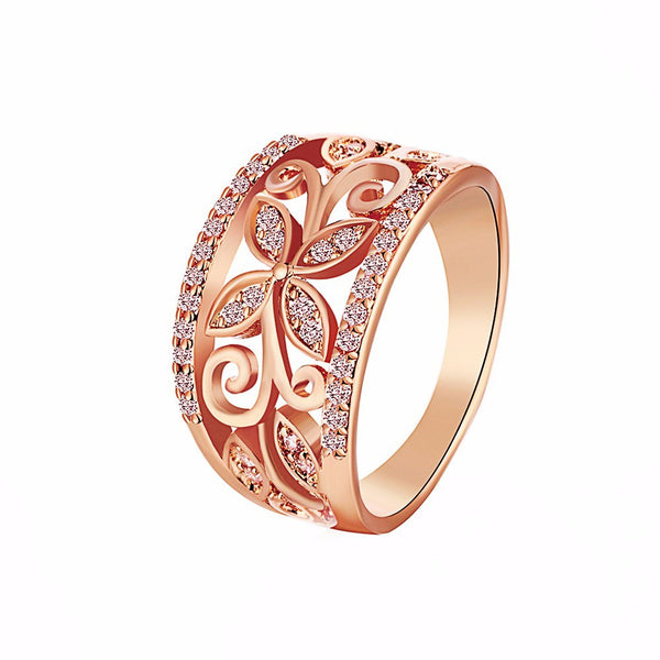 Cubic Zirconia Flower Pattern Women's Ring Rose Gold