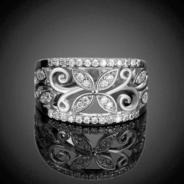Cubic Zirconia Flower Pattern Women's Ring Silver