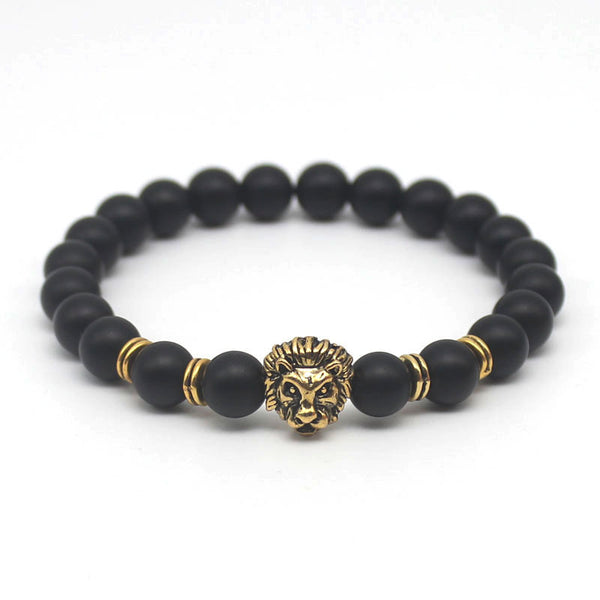 Gold Lion Matte Black Bead Men's Necklace