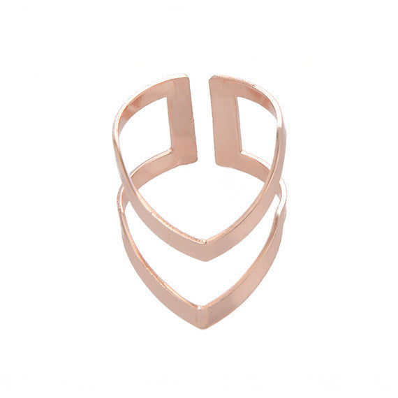 Rose Gold Plated Minimalist V-Ring