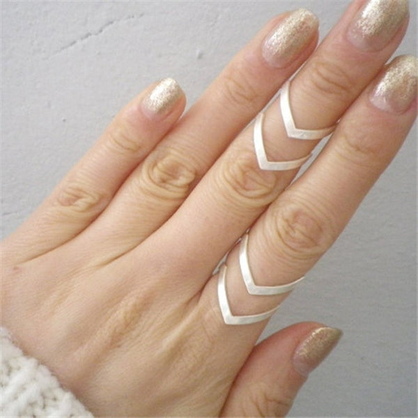 Silver Plated Minimalist V-Ring