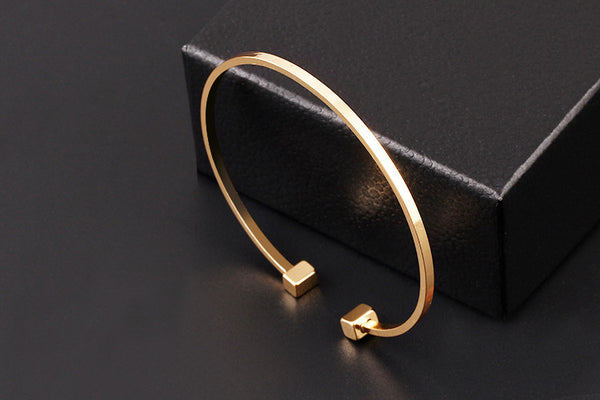 Classic Geometric Adjustable Open Women's Bracelet Gold Plated & Silver
