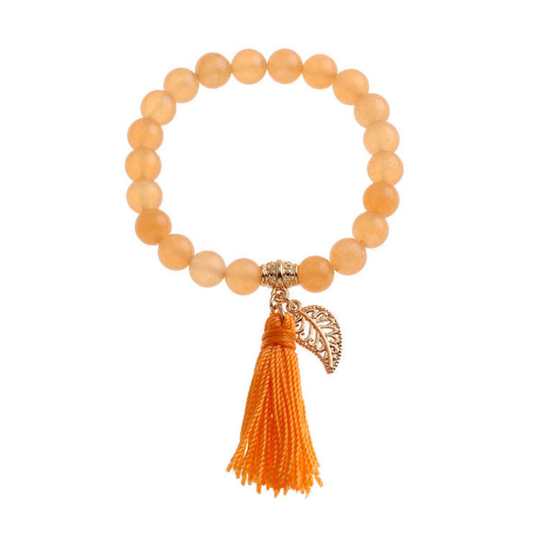Natural Stone Bead Leaf Pendant Tassel Bohemian Women's Bracelet | 5 Colors