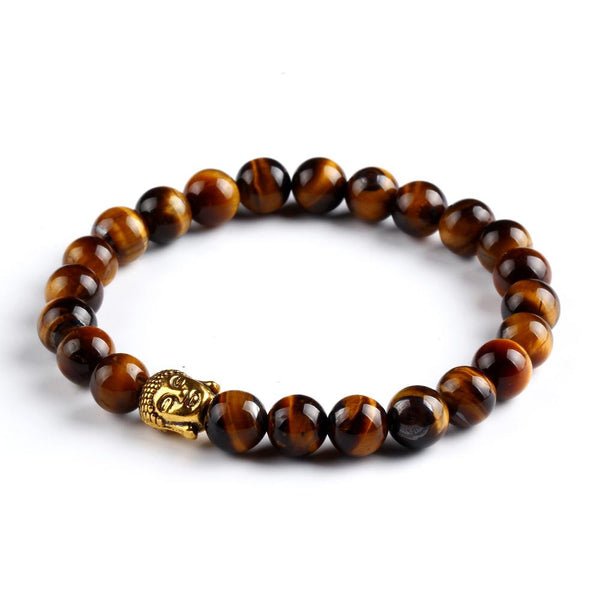 Gold Buddha Head Bead Bracelet Coffee Brown Jewelry Movement