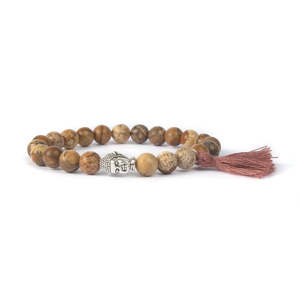 Natural Stone Buddha Head Bohemian Women's Bracelet with Tassel