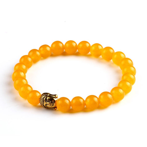 Gold Buddha Head Bead Bracelet Vibrant Yellow Jewelry Movement