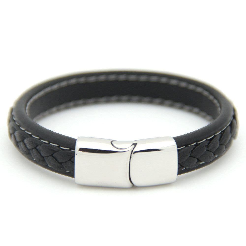 Genuine Woven Black Leather Men's Bracelet Stainless Steel Magnetic Clasp | Jewelry Movement