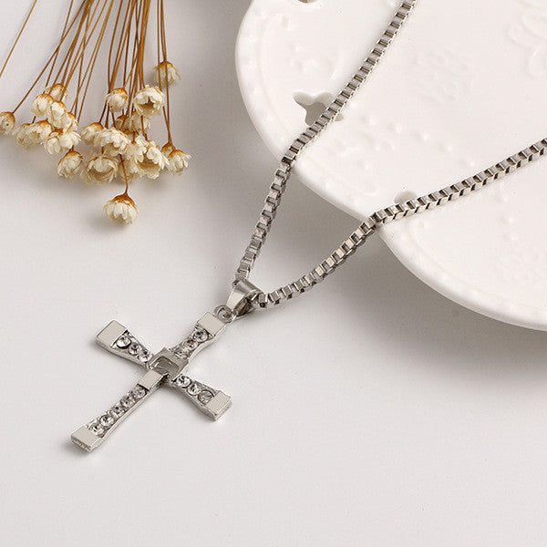Fast & Furious Dominic Toretto Crystal Cross Silver Plated Men's Necklace