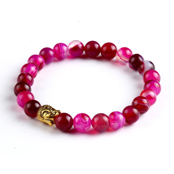 Gold Buddha Head Lava Stone Men's and Women's Bead Bracelet