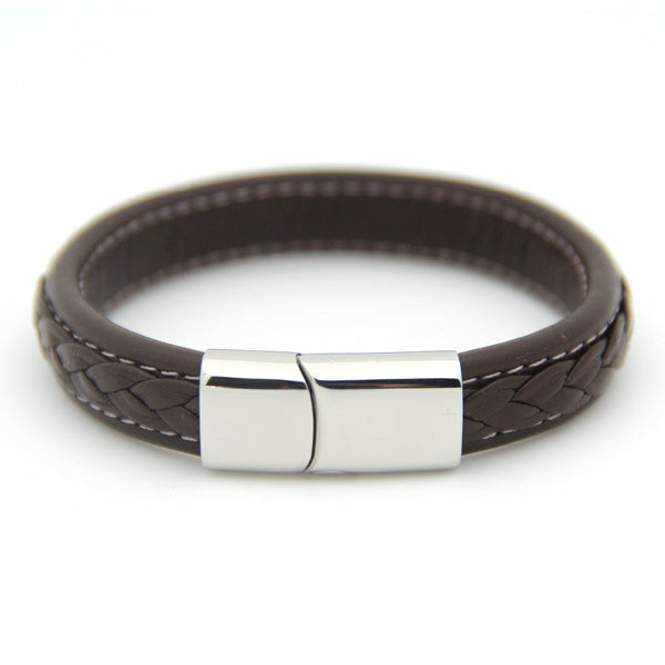 Genuine Woven Brown Leather Men's Bracelet Stainless Steel Magnetic Clasp | Jewelry Movement