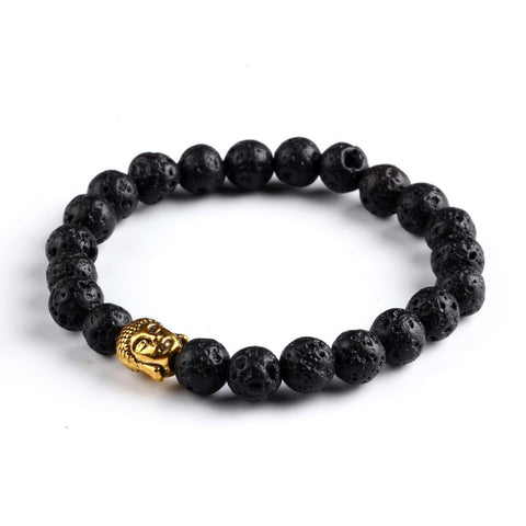 Gold Buddha Head Bead Bracelet Black Lava Jewelry Movement