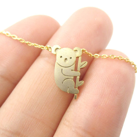 Koala & Eucalyptus Branch Charm Necklace - 18K Gold or Silver Plated