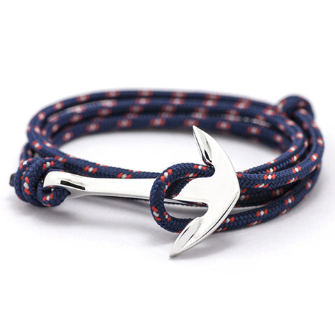 Rope and Silver Anchor Nautical Men's Bracelets
