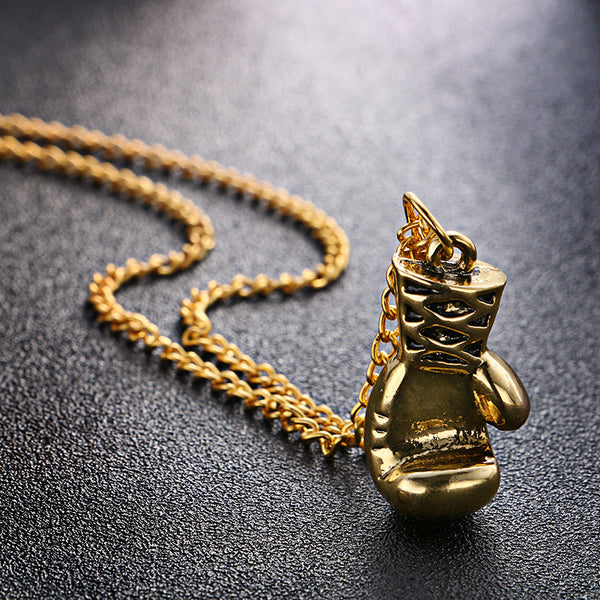 Gold Boxing Glove Pendant Necklace Rocky Balboa