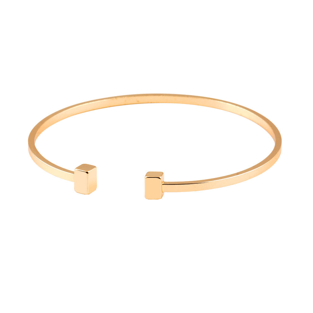 Classic Geometric Adjustable Open Women's Bracelet Gold Plated Jewelry Movement