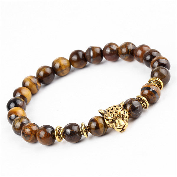 Gold Plated Leopard Head Bead Buddha Bracelet Natural Stone Men's and Women's Bracelet