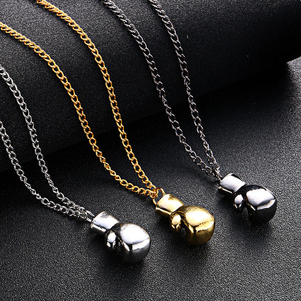 Champion Boxing Glove Necklace inspired by Rocky Balboa | Gold, Silver, Black