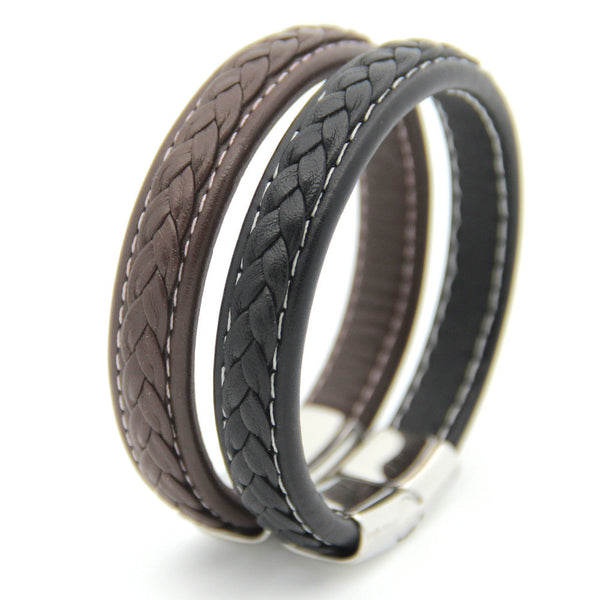 Genuine Woven Leather Men's Bracelet Stainless Steel Magnetic Clasp | Jewelry Movement