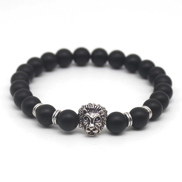 Silver Lion Matte Black Bead Men's Necklace