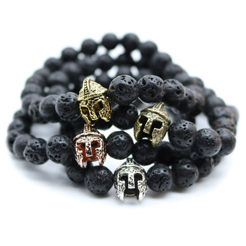 Spartan Warrior Helmet Black Lava Bead Men's Bracelet