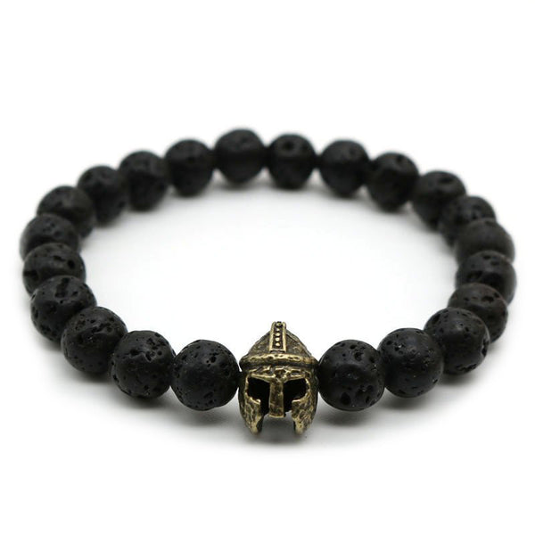 Bronze Spartan Warrior Helmet Black Lava Bead Men's Bracelet
