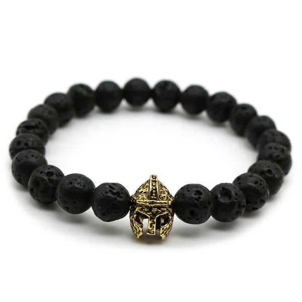 Gold Spartan Warrior Helmet Black Lava Bead Men's Bracelet