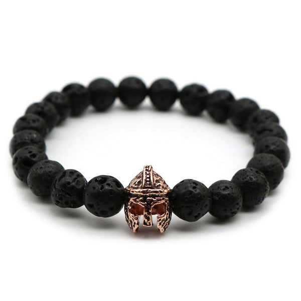 Rose Gold Spartan Warrior Helmet Black Lava Bead Men's Bracelet