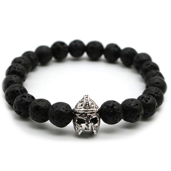 Silver Spartan Warrior Helmet Black Lava Bead Men's Bracelet
