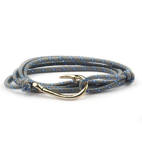 Gold Fishing Hook & Line Nautical Men's and Women's Bracelet